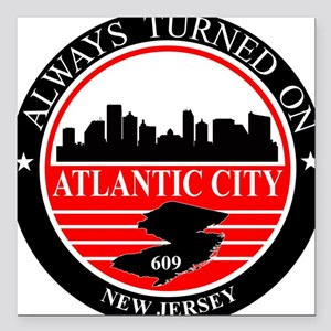 Atlantic City logo black and red Square Car Magnet