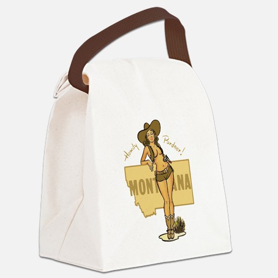 Vintage Montana Pinup Canvas Lunch Bag