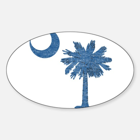 Vintage South Carolina Flag Sticker (Oval)