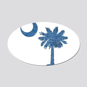 Vintage South Carolina Flag 20x12 Oval Wall Decal