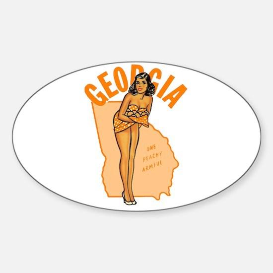 Vintage Georgia Pinup Sticker (Oval)