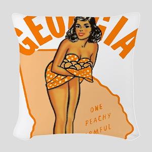 Vintage Georgia Pinup Woven Throw Pillow
