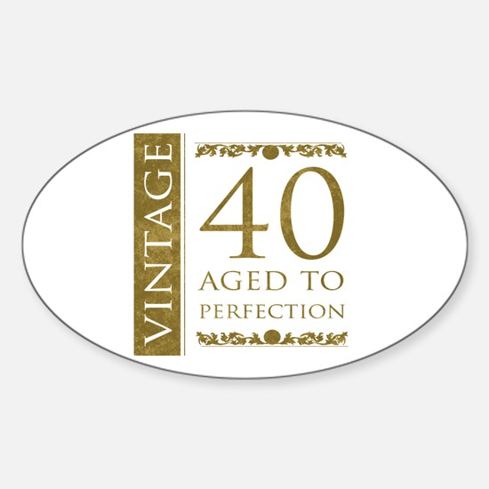 Fancy Vintage 40th Birthday Sticker (Oval)