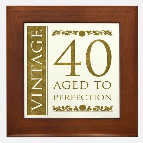 Fancy Vintage 40th Birthday Framed Tile