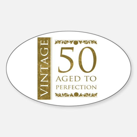 Fancy Vintage 50th Birthday Sticker (Oval)