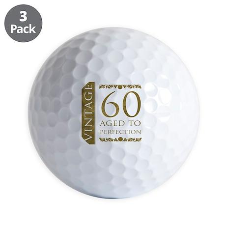 Fancy Vintage 60th Birthday Golf Balls