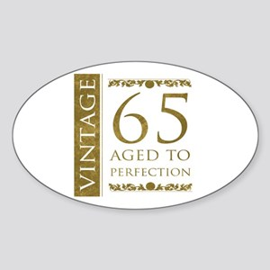 Fancy Vintage 65th Birthday Sticker (Oval)