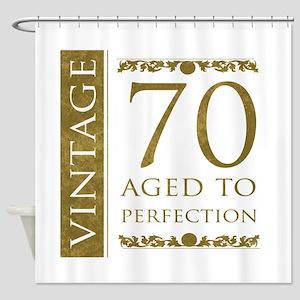 Fancy Vintage 70th Birthday Shower Curtain
