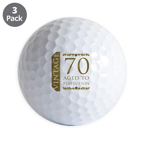 Fancy Vintage 70th Birthday Golf Balls