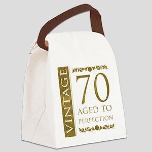 Fancy Vintage 70th Birthday Canvas Lunch Bag