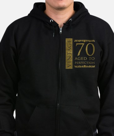 Fancy Vintage 70th Birthday Zip Hoodie (dark)
