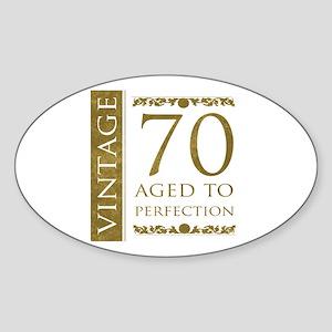 Fancy Vintage 70th Birthday Sticker (Oval)
