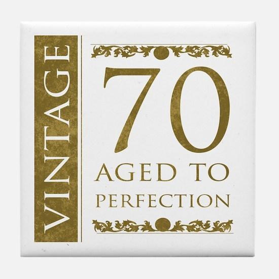 Fancy Vintage 70th Birthday Tile Coaster