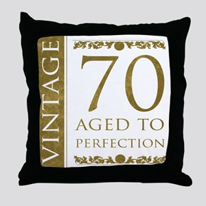 Fancy Vintage 70th Birthday Throw Pillow