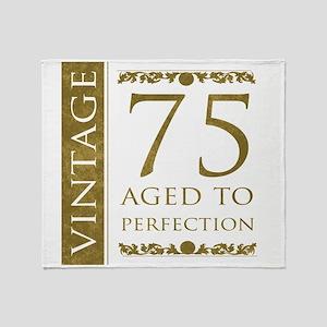 Fancy Vintage 75th Birthday Throw Blanket