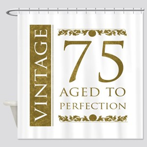 Fancy Vintage 75th Birthday Shower Curtain
