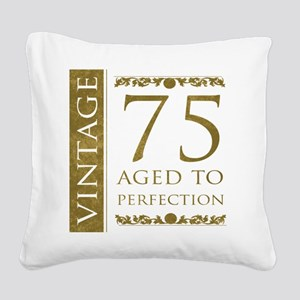 Fancy Vintage 75th Birthday Square Canvas Pillow