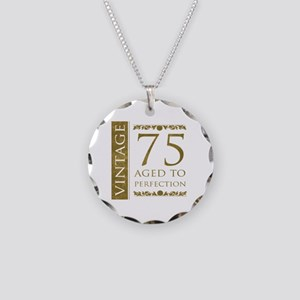 Fancy Vintage 75th Birthday Necklace Circle Charm