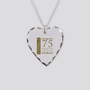 Fancy Vintage 75th Birthday Necklace Heart Charm
