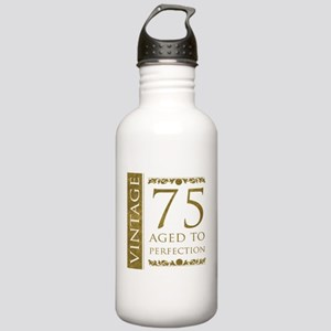 Fancy Vintage 75th Birthday Stainless Water Bottle