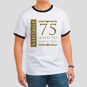 Fancy Vintage 75th Birthday Ringer T