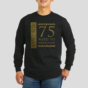 Fancy Vintage 75th Birthday Long Sleeve Dark T-Shi