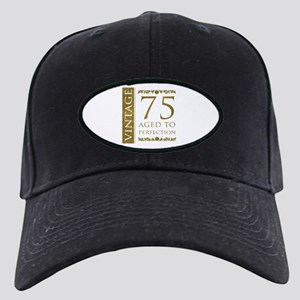 Fancy Vintage 75th Birthday Black Cap