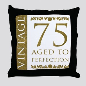 Fancy Vintage 75th Birthday Throw Pillow