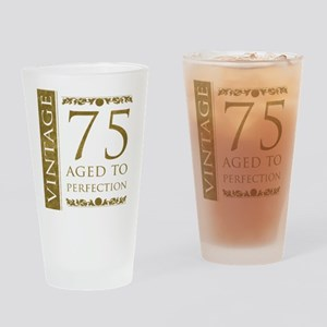 Fancy Vintage 75th Birthday Drinking Glass