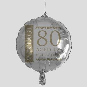 Fancy Vintage 80th Birthday Mylar Balloon