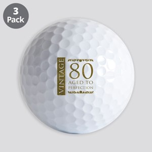 Fancy Vintage 80th Birthday Golf Balls