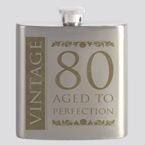 Fancy Vintage 80th Birthday Flask