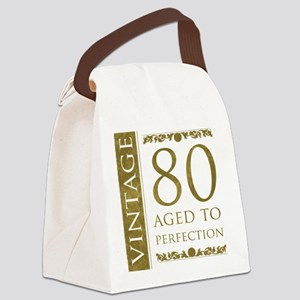 Fancy Vintage 80th Birthday Canvas Lunch Bag