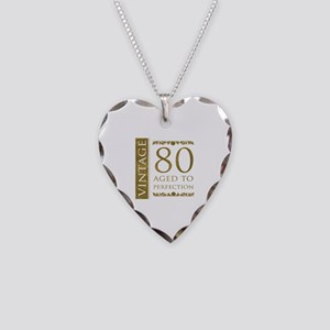 Fancy Vintage 80th Birthday Necklace Heart Charm