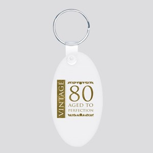 Fancy Vintage 80th Birthday Aluminum Oval Keychain