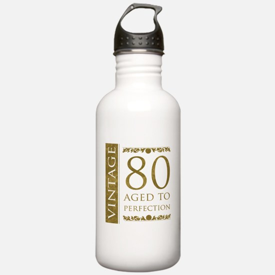 Fancy Vintage 80th Birthday Water Bottle