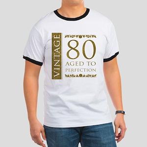 Fancy Vintage 80th Birthday Ringer T