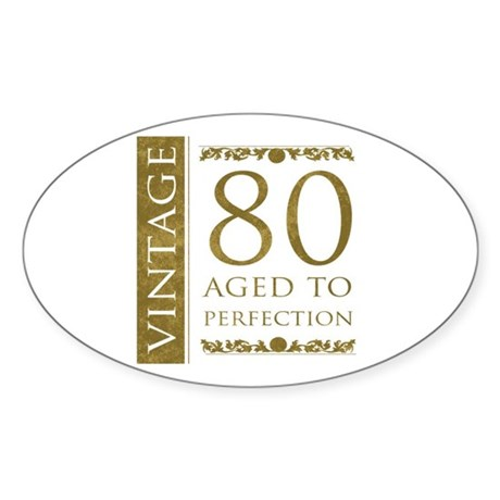 Fancy Vintage 80th Birthday Sticker (Oval)
