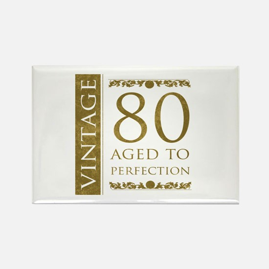 Fancy Vintage 80th Birthday Rectangle Magnet (10 p
