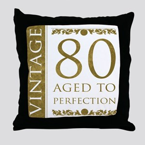 Fancy Vintage 80th Birthday Throw Pillow
