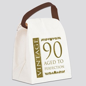 Fancy Vintage 90th Birthday Canvas Lunch Bag