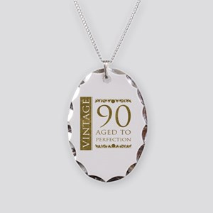 Fancy Vintage 90th Birthday Necklace Oval Charm