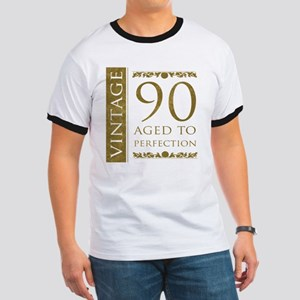 Fancy Vintage 90th Birthday Ringer T