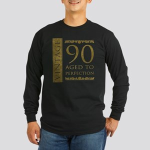 Fancy Vintage 90th Birthday Long Sleeve Dark T-Shi