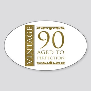 Fancy Vintage 90th Birthday Sticker (Oval)