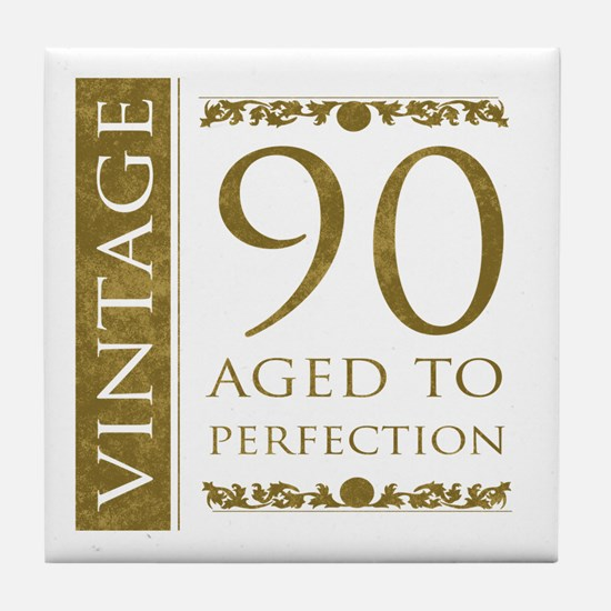 Fancy Vintage 90th Birthday Tile Coaster