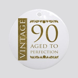 Fancy Vintage 90th Birthday Ornament (Round)