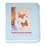 Gold butterflies purple collage baby blanket