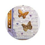 Gold butterflies purple collage Ornament (Round)
