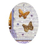 Gold butterflies purple collage Ornament (Oval)